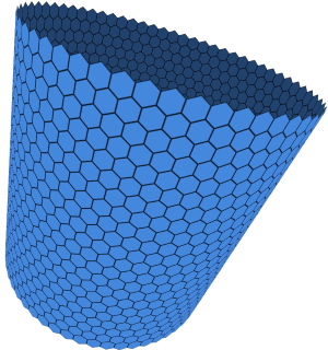 A hexagonal grid wrapped around a cylinder.
