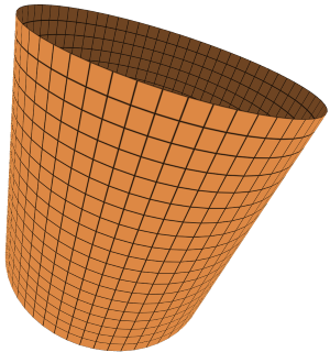A square grid wrapped around a cylinder.