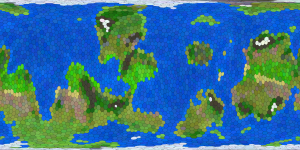Procedurally Generated Planet, Viewed as a Rectangular Map