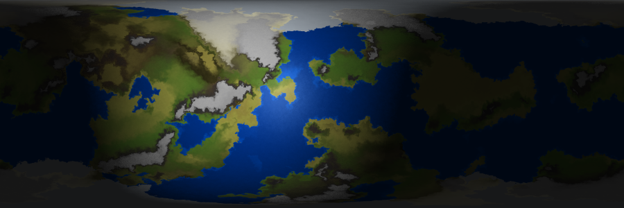 A picture of a planetary map, lit so that only the portions of the map that would be experiencing daylight are bright.
