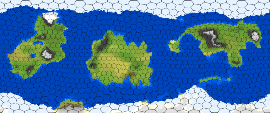 A planetary map with hexagonal grid lines, but with full per-pixel detail within each cell.