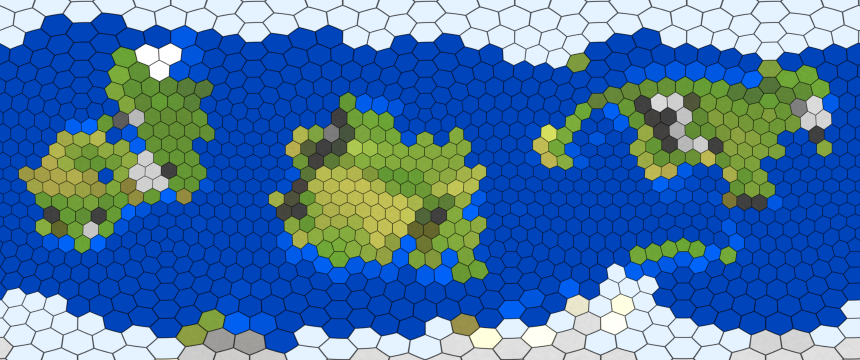 A planetary map with hexagonal grid lines, and each cell filled with a single flat color.