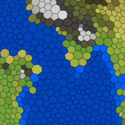 An images of randomly tiled geography, with the shape of the tiles favoring regularity such that heptagons are bigger than hexagons which are bigger than pentagons.