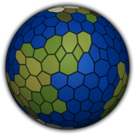 A tile-based planet with a mix of randomly distributed tiles of varying sizes.