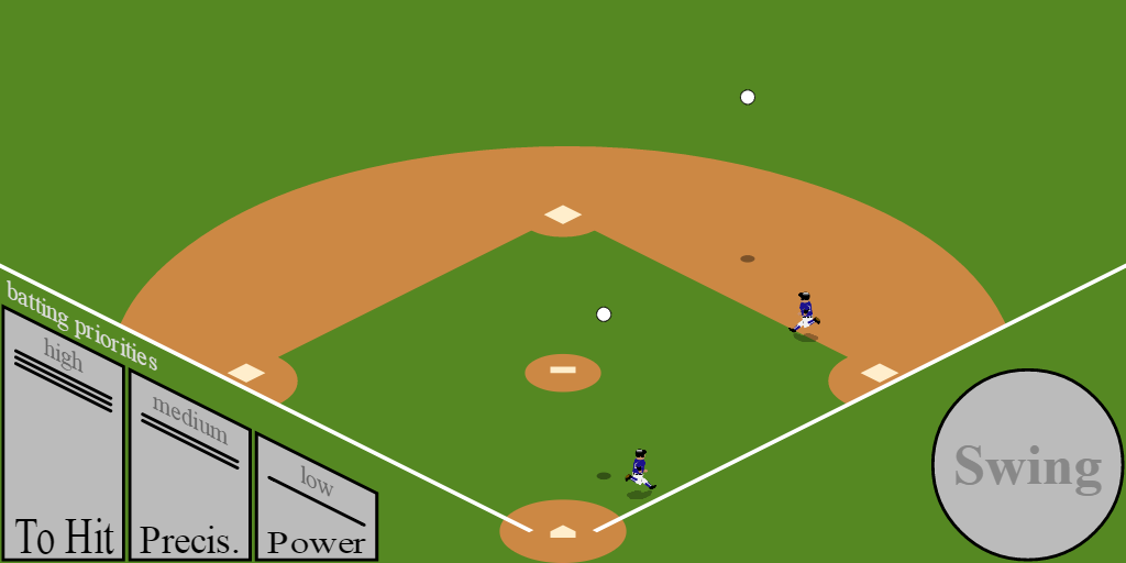 A baseball diamond with two runners and two balls, and some UI elements.