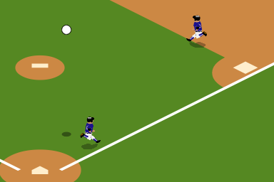 Two base runners running between home, first and second, with a ball in the air.