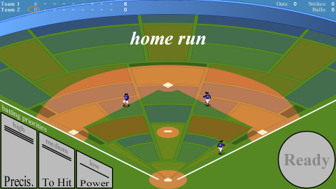 Three players running around the diamond for a home run.