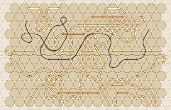 hex grid cells with channels and a path